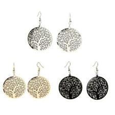 Round Drop Earrings Dangle with Tree Of Life Pattern Vintage Pendant Jewelry