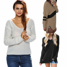 Womens Long Sleeve V Neck Loose Pullover Sweater Ladies Casual Jumper Furry Top