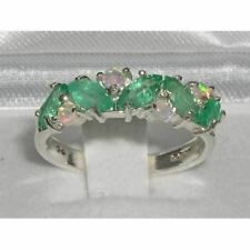 9ct Solid White Gold Ladies Natural Emerald & Fiery Opal Ring