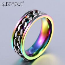 Part Plated-Gold/Black Man's Spin Chain Ring For Stainless Steel Cool Man Woman