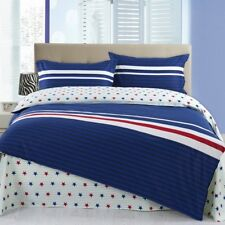 Simple stripes with a star pattern 4PC bed set Queen Size Cotton
