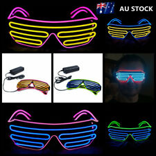 LED Electro Luminescent EL Wire Neon Shutter Light up Flashing Party Eye Glasses