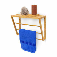 Bamboo Wall Towel Holder with Shelf Hand Towel Holder Wall-Mounted Organisation