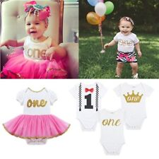 Infant Kid Baby Boy Girl 1st Birthday Crown Romper Bodysuit Party Clothes Outfit