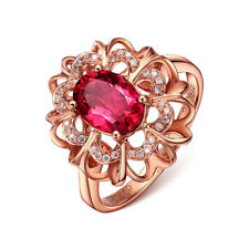 Rose Gold  Engagement Diamond Crystal 18K Gold Plated Wedding Women Ring Jewelry