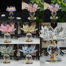 Buddhist Lotus Crystal Tea Light Candle Holder Candlestick Crystal Decor