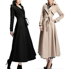 Office Ladies Winter Pleated Mac Long Trench Coat Belted Jacket US sz 0-6