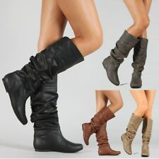 Womens Mid Calf PU Leather Boots Pull On Flat Waterproof Pleated Boots Shoes