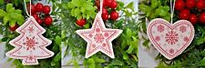 Christmas tree decorations 12 White Stars Hearts or trees (15)