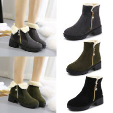 Women Snow Boots Casual Warm High Heel Winter Fur Lined Zip Boots Outdoors Shoes