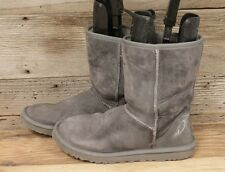UGGS CLASSIC SHORT II WOMENS GREY LEATHER SHEEPSKIN WINTER/SNOW BOOTS SZ 8