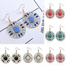 Bohe Retro Big Circle Hallow Flower pierced Drop Hook Earring Women Jewelry Gift