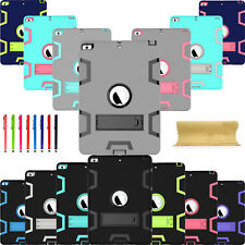 Silicone PC Hybrid Armor Shockproof Military Kickstand Case Cover For iPad Model