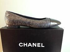 CHANEL Pointed Patent Cap Toe Black Leather Flats Ballet Shoes 39.5 $795 NIB!