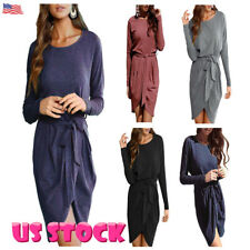 Women Winter Long Sleeve Bodycon Casual Evening Party Cocktail Mini Belted Dress