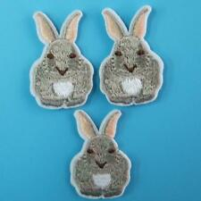 3 Rabbit Bunny Iron on Sew Patch Embroidery Applique Badge Embroidered Motif Lot
