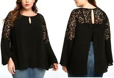 3X 22/24 Sexy New Torrid Black Crochet Insert Bell Sleeve Shirt Gothic Witch Top