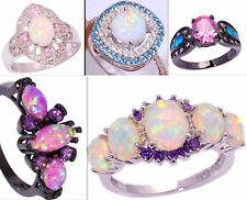Rainbow Fire Opal 925 Sterling Silver Black Gold Pink Sapphire Ring Jewelry Gift