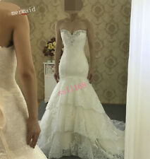 Sexy Lace Mermaid's White/ Ivory Wedding dress Bridal Gown Custom Made 6-24