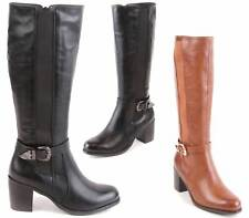 LADIES WOMENS KNEE HIGH WIDE LEG MID BLOCK HEEL STRETCH CALF RIDING BOOTS SIZE