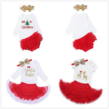 Fancy Toddler Baby Girls Romper Top Tutu Dress Christmas Skirt Outfits Costume