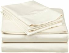UK Sizes 4PCs Bed Sheet Set 1000 Thread Count 100% Egyptian Cotton Ivory Solid