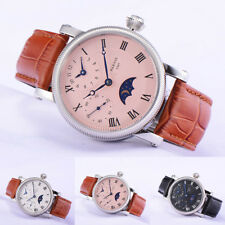43mm Parnis Moon Phase Small Second Hand Winding Men Casual Watch Stainless Case