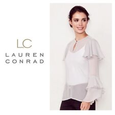 LC Lauren Conrad M L Sheer Tiered Ruffle Blouse Long Sleeve Silver NWT