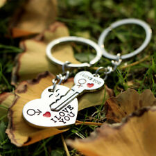 New 1 Pair Couple I LOVE YOU Letter Keychain Heart Key Ring Silvery Lovers Love