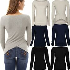 Women Fitted Knitted Long Sleeve Jumper Sweater Ladies Casual Knitwear Tops