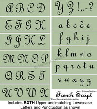 NEW-French Script Alphabet STENCILS~Upper and Lowercase Letters DIY UPaint UPick