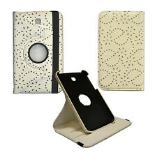 """WHITE BLING GLITTER 360ROTATING PULEATHER 7""""INCH COVER SAMSUNG GALAXY TAB3 P3200"""