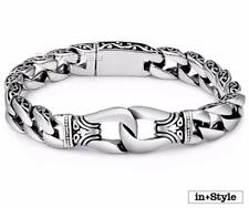 Men's Chain Silver Curb Link Stainless Steel Bracelet In Style