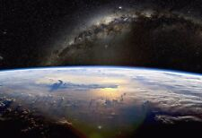 Earth Against The Milky Way - Space Poster Print - Space Photo - Planet Earth
