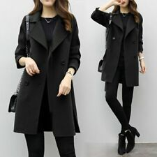 women Fashion double breasted long trench coat jacket wool overcoat Parka HO