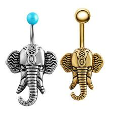 Elephant Belly Ring Dangle Navel Body Jewelry Antique Stainless Steel Button
