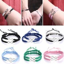 2pcs Hand Woven Infinity Braided Wristband Bracelet Bangle Valentine's Day Gift