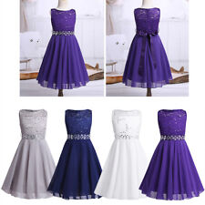 Flower Girls Chiffon Dress Princess Pageant Wedding Birthday Party Formal Gown