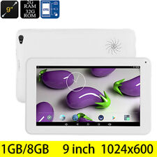 9'' Tablet PC Android 5.1 Quad-Core 1+8GB Dual Camera Bluetooth WiFi 3G OTG WH