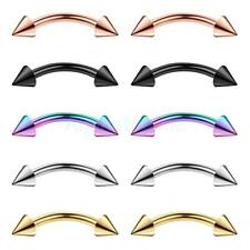 10Pcs 316L Stainless Barbell Curved Spikes Eyebrow Rings Bar Tragus Ear Piercing