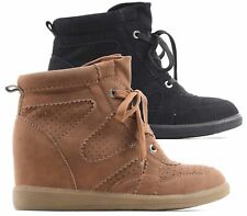LADIES FLAT CONCEALED WEDGE HI TOP PLATFORM LACE UP TRAINER ANKLE BOOTS SHOES