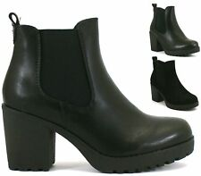 WOMENS BLOCK HEEL CHUNKY PLATFORM CHELSEA LADIES PULL ON ANKLE BOOTS  SHOES SIZE