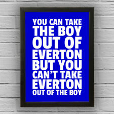 EVERTON - BOY/GIRL FRAMED WORD TEXT ART PICTURE POSTER Blue White