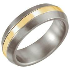 Titanium and 14k Yellow Gold Inlay Comfort Fit 6MM Domed Band