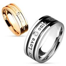 New Men Women 'Only Love Only You' Stainless Steel Wedding Band Ring Size 5-12