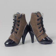 1:6 Girls Shoes Lace-up High Heeled Ankle Boots for 12 Inch Female Figure Body