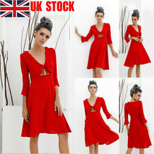 UK Womens Lace Up Ruffle Flared 3/4 Sleeve Cut Out Party Club Midi Swing Dresses