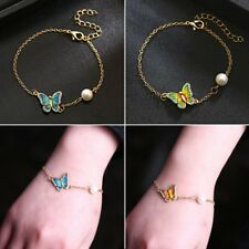 Vintage Butterfly Crystal Pearl Chain Bangle Bracelet Women Wedding Jewelry Gift