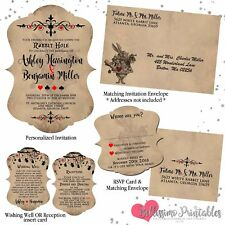 Alice in Wonderland Vintage Wedding Invitations, Die Cut RSVP Reception