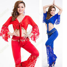 Belly Dance Costume Set Top Blouse + Long Pants Indian Dance Practice Outfits #2